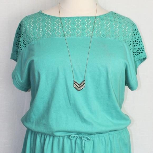 GAP Dresses & Skirts - Gap Teal Green Eyelet Summer Dress